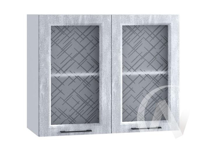 """Кухня """"Либерти"""": Шкаф верхний со стеклом 800, ШВС 800 (Холст натуральный/корпус белый)"""
