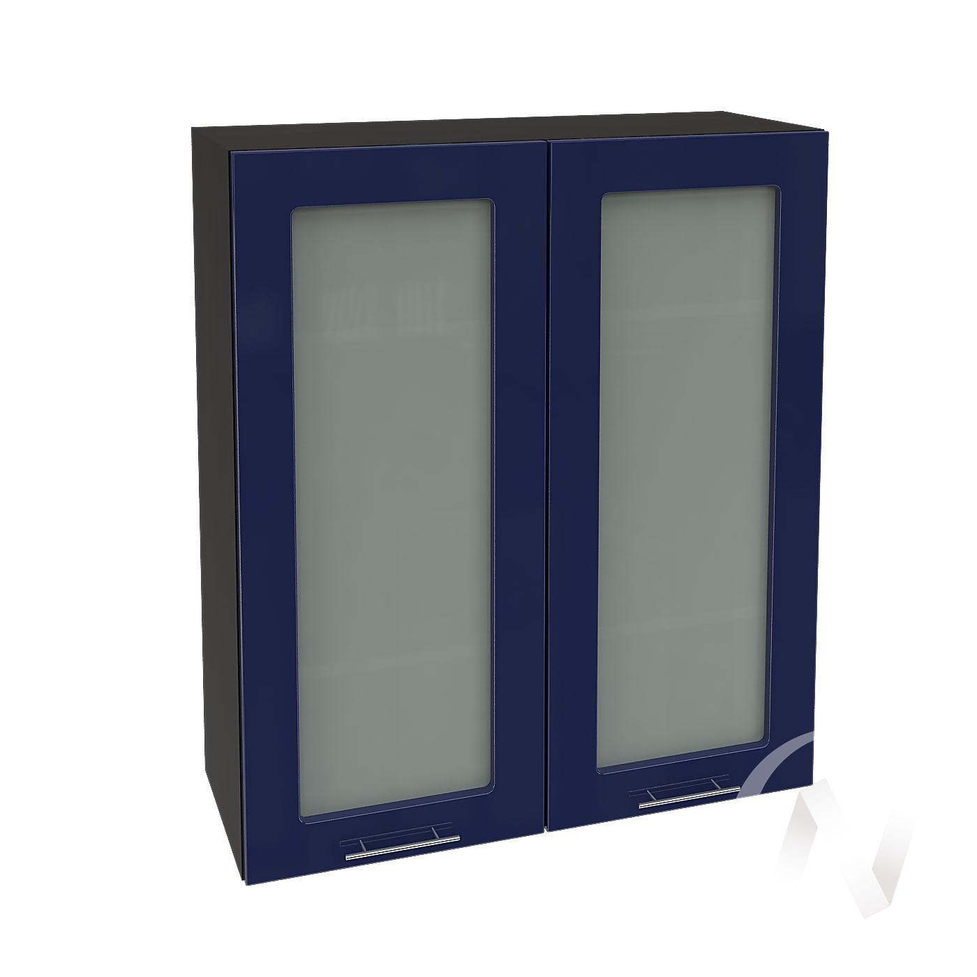 """Кухня """"Валерия-М"""": Шкаф верхний со стеклом 809, ШВС 809 новый (Синий глянец/корпус венге)"""