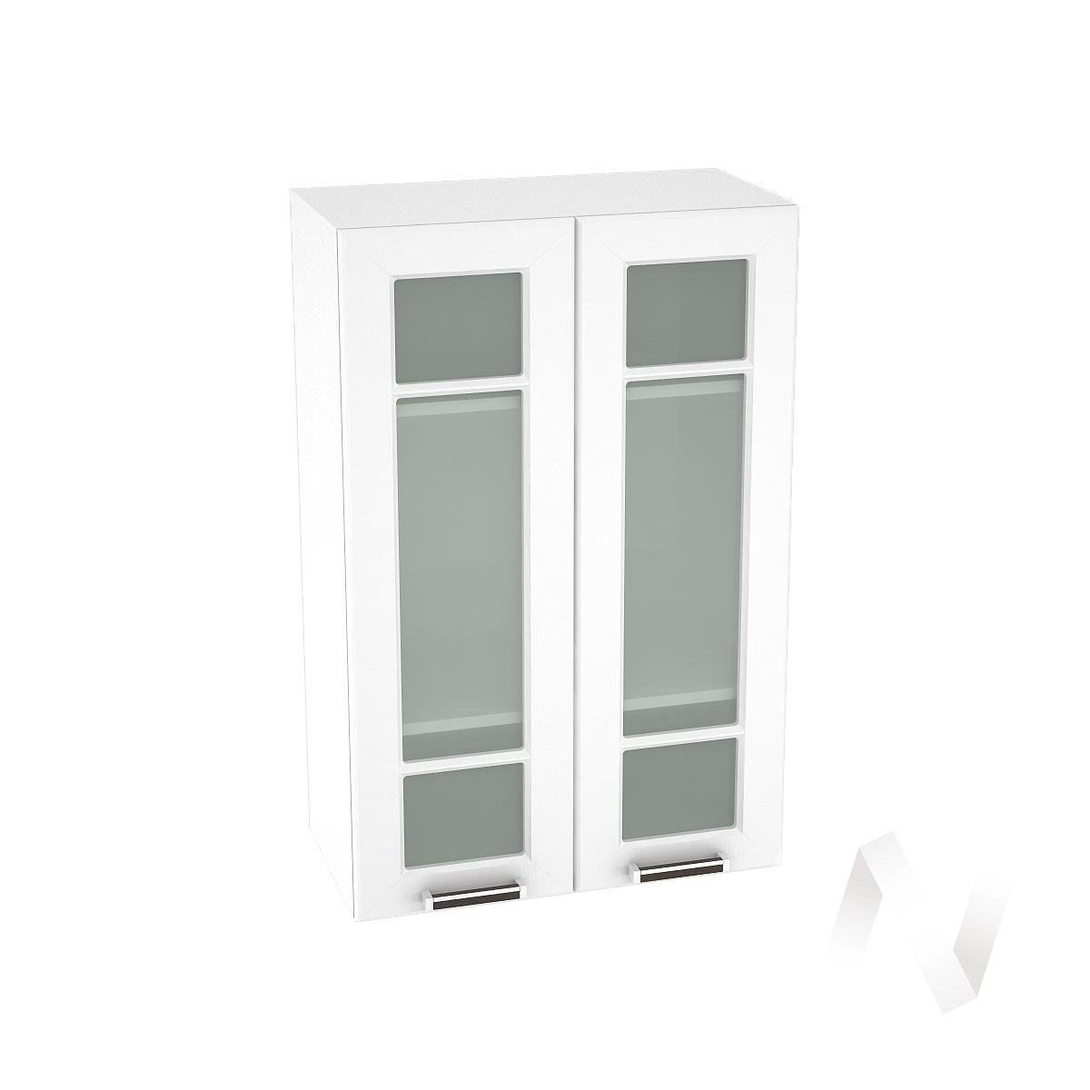"""Кухня """"Прага"""": Шкаф верхний со стеклом 609, ШВС 609 новый (белое дерево/корпус белый)"""