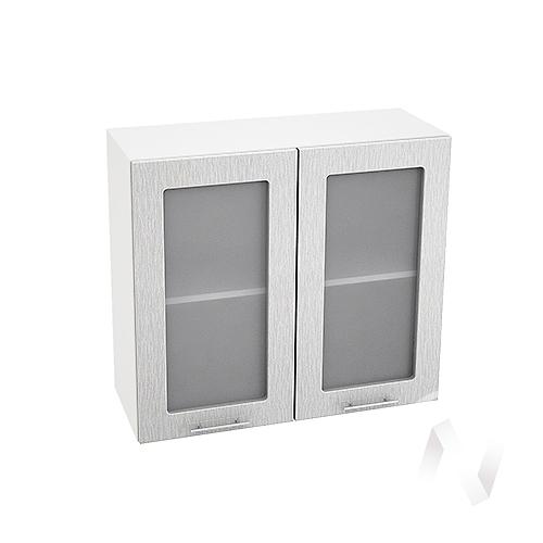 """Кухня """"Валерия-М"""": Шкаф верхний со стеклом 800, ШВС 800 новый (дождь серый/корпус белый)"""