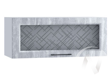 """Кухня """"Либерти"""": Шкаф верхний горизонтальный со стеклом 800, ШВГС 800 (Холст натуральн/корпус белый)"""