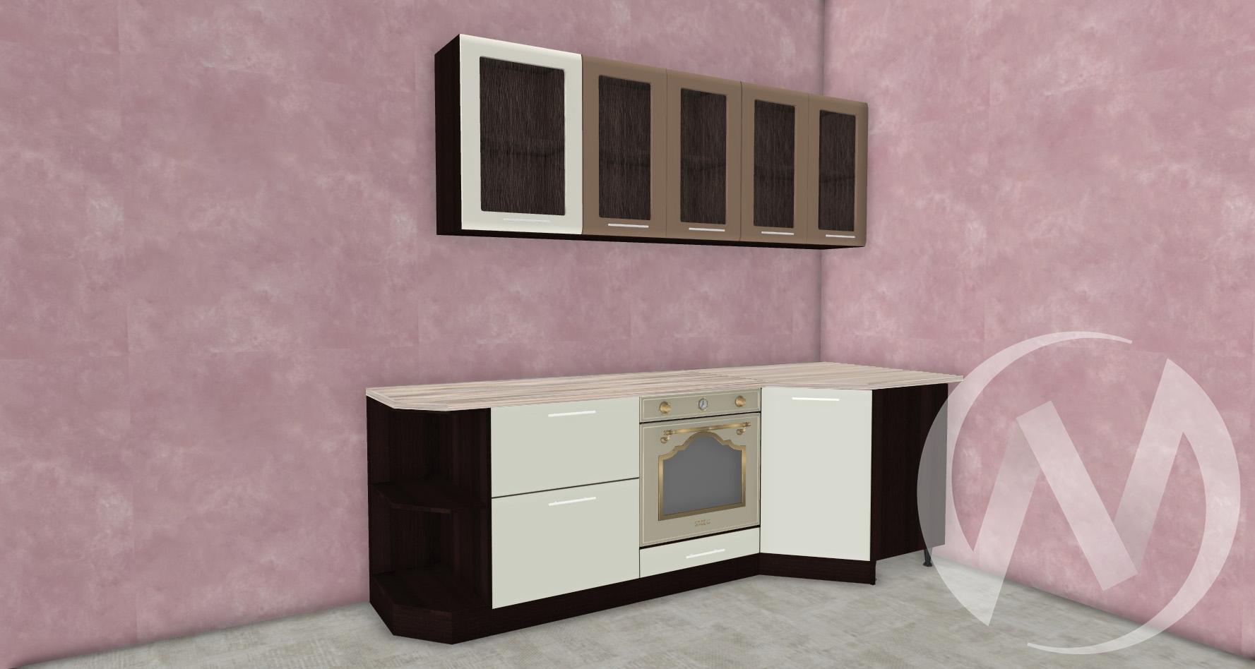 Кухня Люкс шоколад матовый/магнолия матовая угловая 1,2*2,1 №2  в Новосибирске - интернет магазин Мебельный Проспект