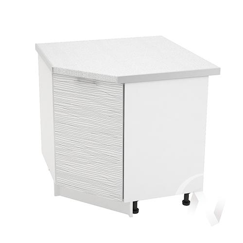 """Кухня """"Валерия-М"""": Шкаф нижний угловой 890, ШНУ 890 (Страйп белый/корпус белый)"""