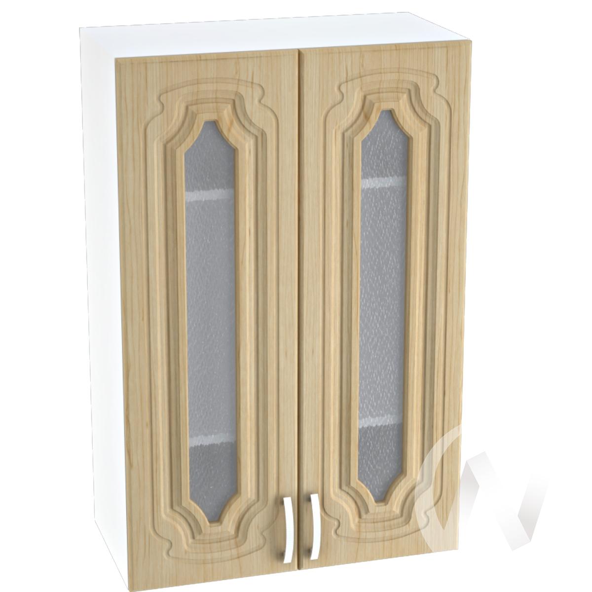 """Кухня """"Настя"""": Шкаф верхний со стеклом 609, ШВС 609 новый (Береза/корпус белый)"""