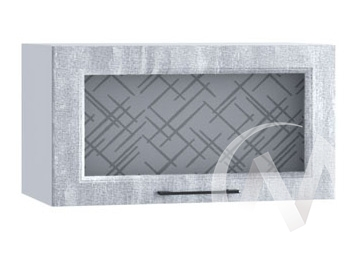 """Кухня """"Либерти"""": Шкаф верхний горизонтальный со стеклом 600, ШВГС 600 (Холст натуральн/корпус белый)"""