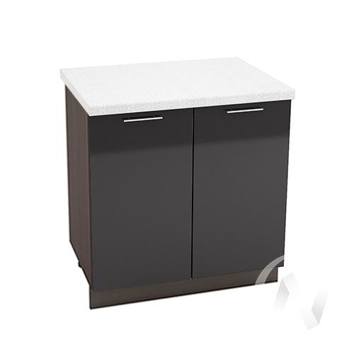 """Кухня """"Валерия-М"""": Шкаф нижний 800, ШН 800 новый (черный металлик/корпус венге)"""