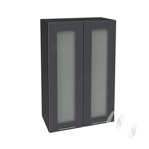 """Кухня """"Валерия-М"""": Шкаф верхний со стеклом 609, ШВС 609 новый (Антрацит глянец/корпус венге)"""