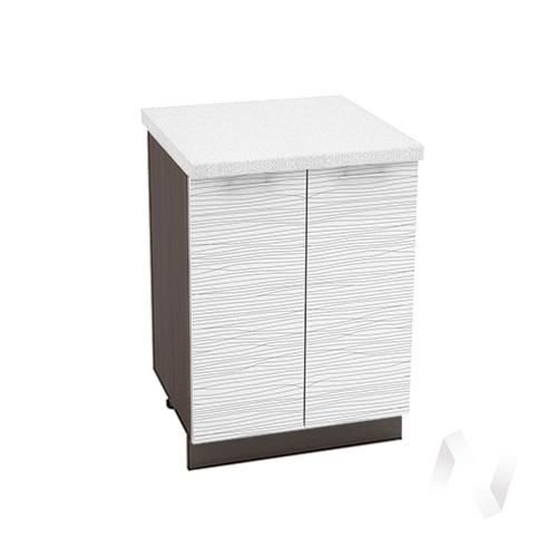 "Кухня ""Валерия-М"": Шкаф нижний 600, ШН 600 (Страйп белый/корпус венге)"