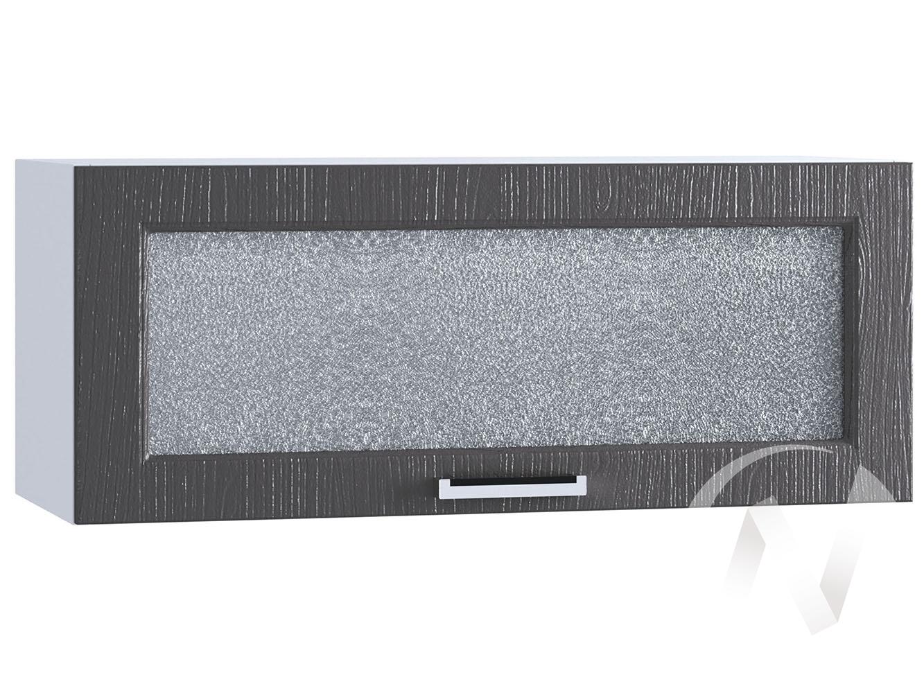 """Кухня """"Луксор"""": Шкаф верхний горизонтальный со стеклом 800, ШВГС 800 (Клен серый/корпус белый)"""