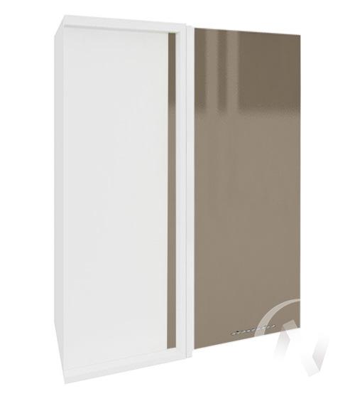 """Кухня """"Валерия-М"""": Шкаф верхний угловой 699, ШВУ 699 (Капучино глянец/корпус белый)"""