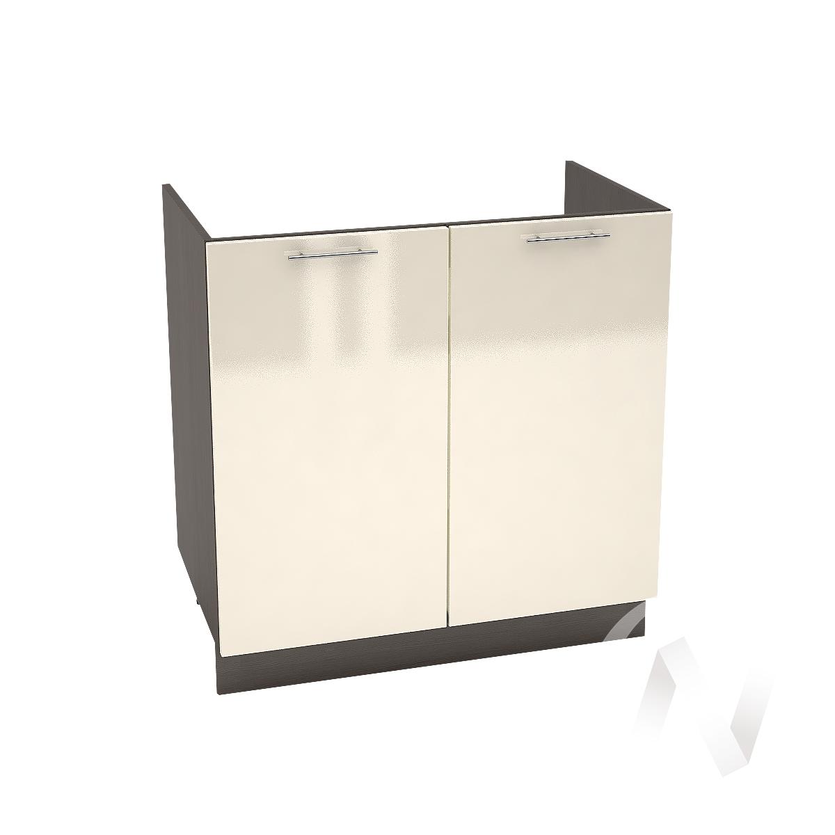 """Кухня """"Валерия-М"""": Шкаф нижний под мойку 800, ШНМ 800 новый (Ваниль глянец/корпус венге)"""