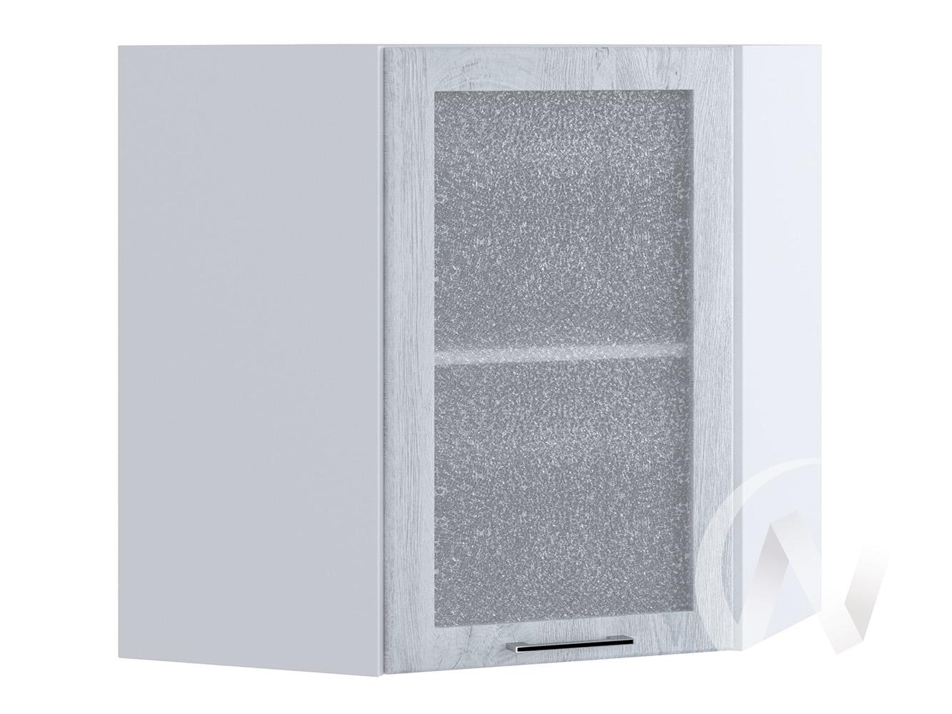 """Кухня """"Палермо"""": Шкаф верхний угловой со стеклом 590, ШВУС 590 (Дуб остин серый/корпус белый)"""