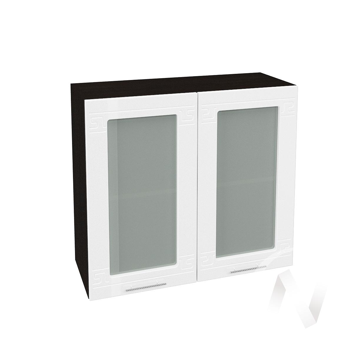 """Кухня """"Греция"""": Шкаф верхний со стеклом 800, ШВС 800 новый (белый металлик/корпус венге)"""