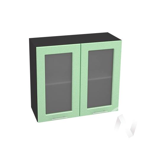 """Кухня """"Вега"""": Шкаф верхний со стеклом 800, ШВС 800 новый (салатовый металлик/корпус венге)"""