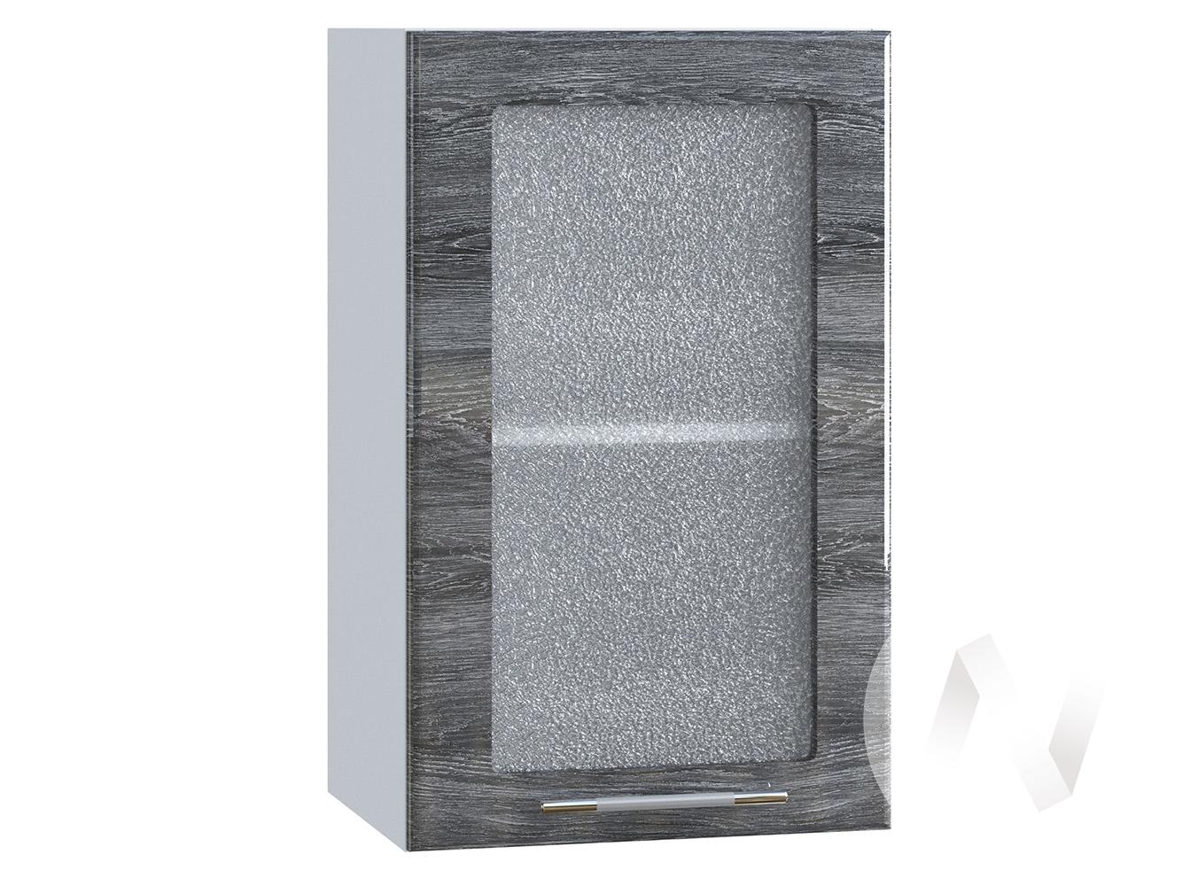 "Кухня ""Танго"": Шкаф верхний со стеклом 400, ШВС 400 (Дуб шале серебро/корпус белый)"