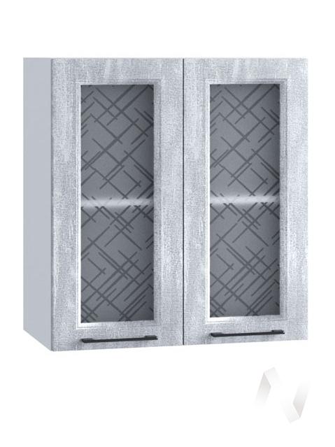 """Кухня """"Либерти"""": Шкаф верхний со стеклом 600, ШВС 600 (Холст натуральный/корпус белый)"""