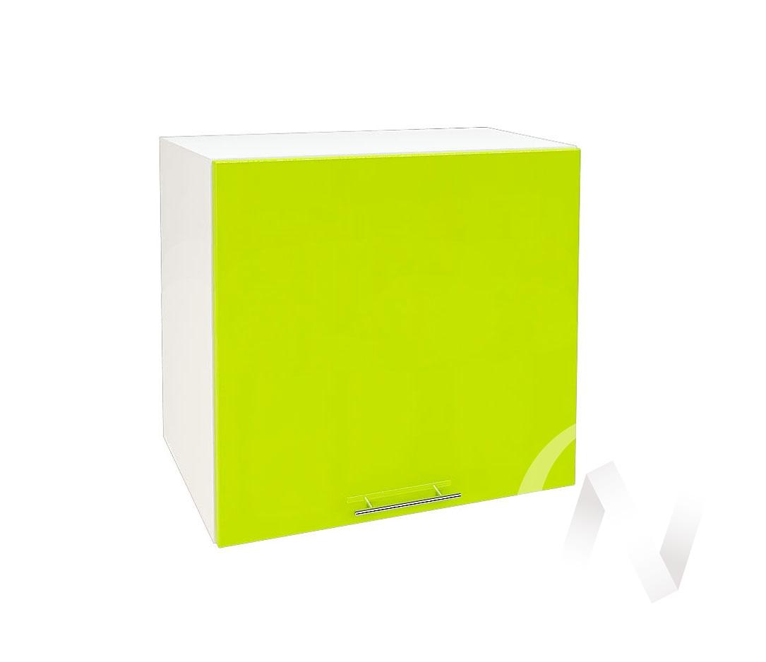 """Кухня """"Валерия-М"""": Шкаф верхний горизонтальный 509, ШВГ 509 (лайм глянец/корпус белый)"""