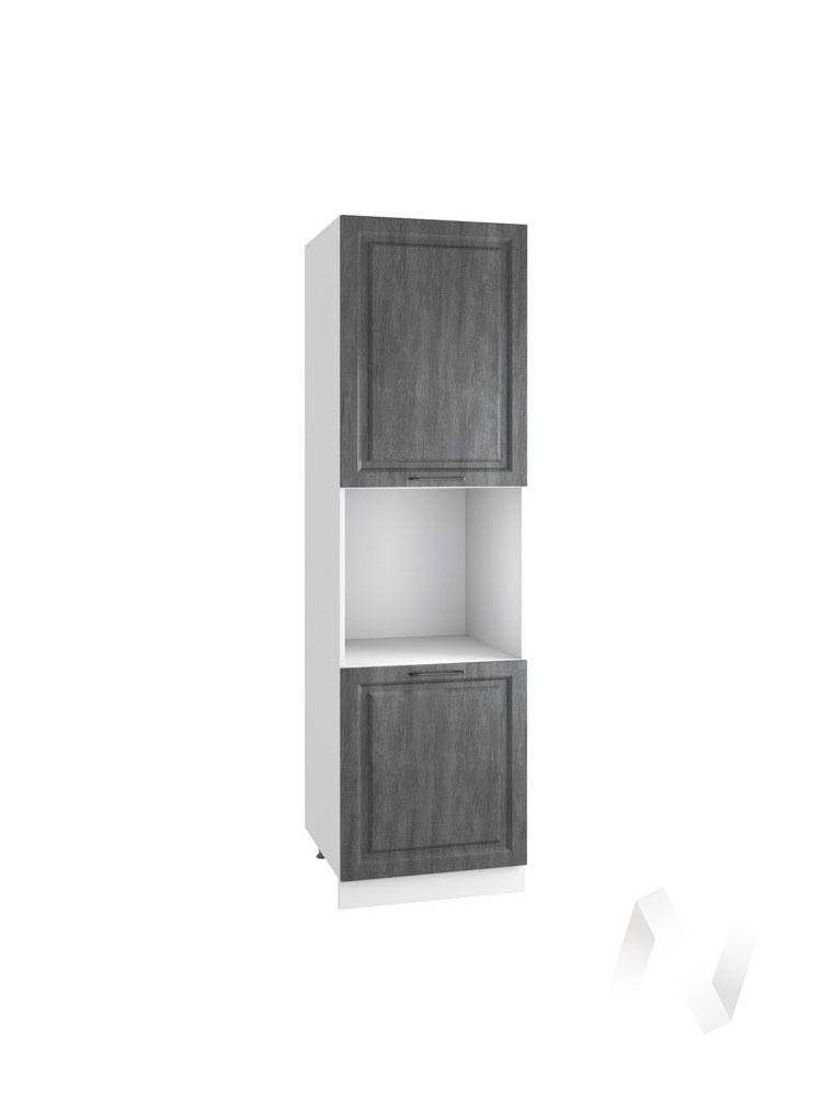 "Кухня ""Либерти"": Шкаф пенал 600, ШП 600 Н (Холст грей/корпус белый)"