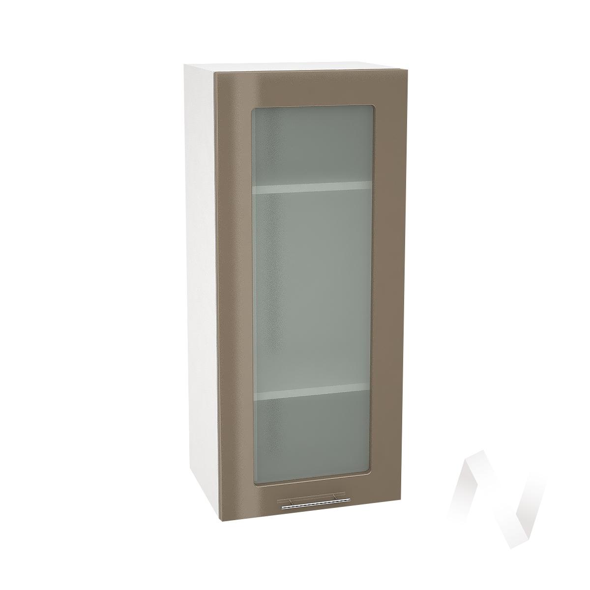 """Кухня """"Валерия-М"""": Шкаф верхний со стеклом 409, ШВС 409 (Капучино глянец/корпус белый)"""