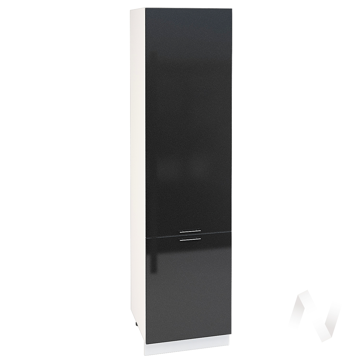 "Кухня ""Валерия-М"": Шкаф пенал 600, ШП 600 НМ (черный металлик/корпус белый)"