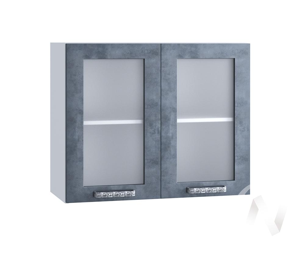 """Кухня """"Лофт"""": Шкаф верхний со стеклом 800, ШВС 800 новый (Бетон графит/корпус белый)"""