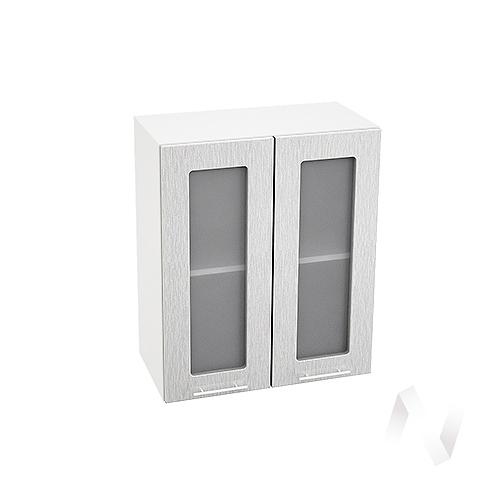 """Кухня """"Валерия-М"""": Шкаф верхний со стеклом 600, ШВС 600 новый (дождь серый/корпус белый)"""
