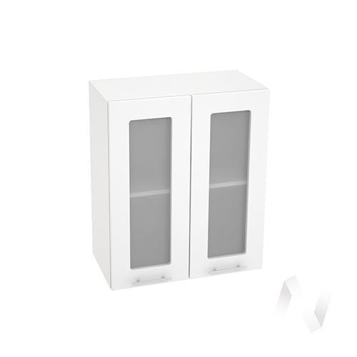"""Кухня """"Валерия-М"""": Шкаф верхний со стеклом 600, ШВС 600 новый (белый металлик/корпус белый)"""