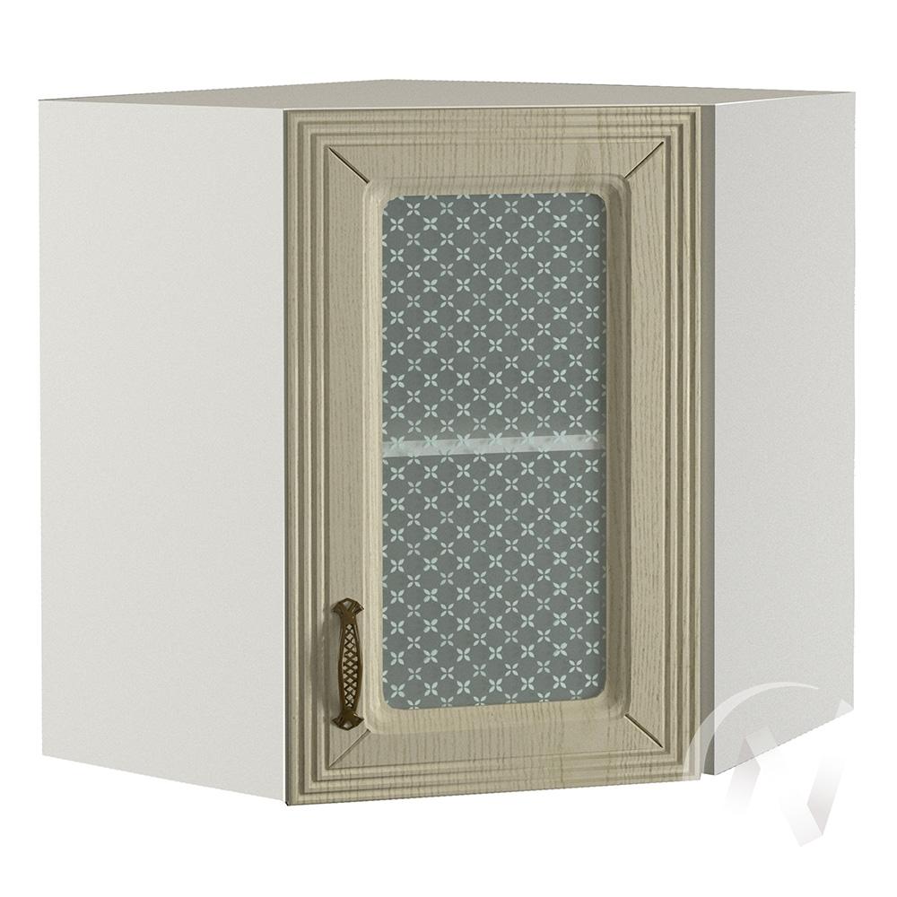 """Кухня """"Изабель"""": Шкаф верхний угловой со стеклом 590, ШВУС 590 (корпус белый)"""