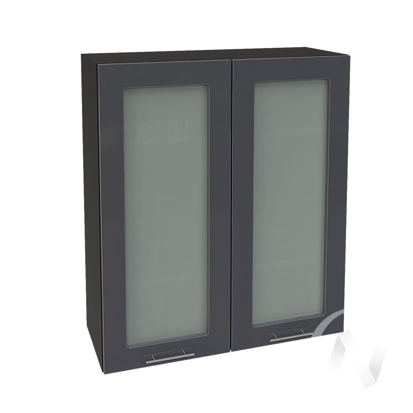 """Кухня """"Валерия-М"""": Шкаф верхний со стеклом 809, ШВС 809 новый (Антрацит глянец/корпус венге)"""