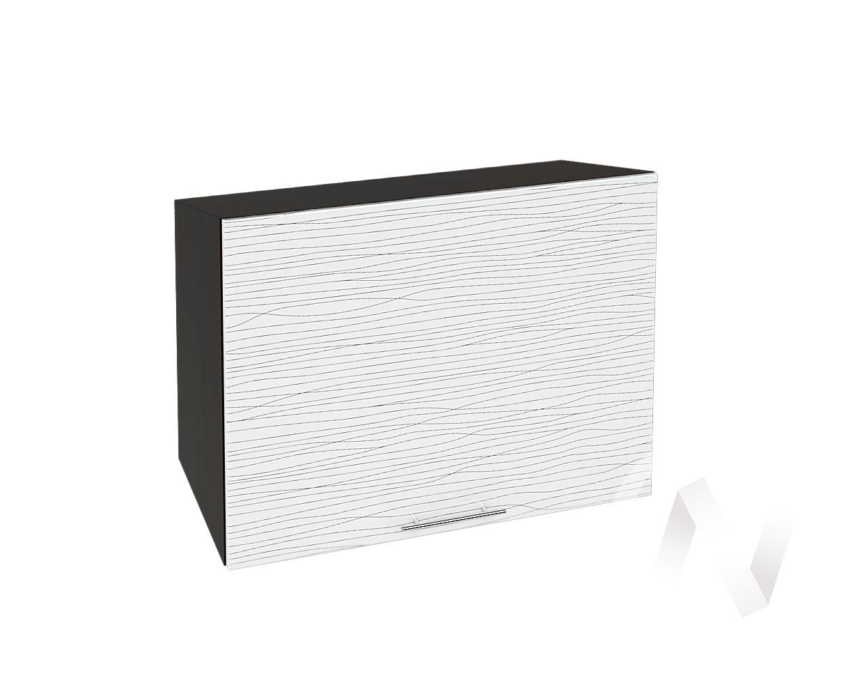 """Кухня """"Валерия-М"""": Шкаф верхний горизонтальный 609, ШВГ 609 (Страйп белый/корпус венге)"""