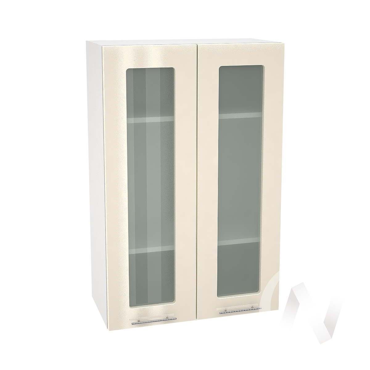 """Кухня """"Валерия-М"""": Шкаф верхний со стеклом 609, ШВС 609 новый (Ваниль глянец/корпус белый)"""