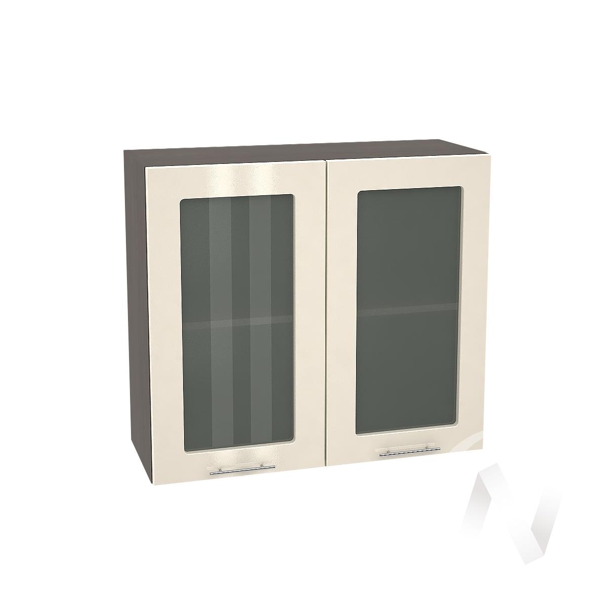 """Кухня """"Валерия-М"""": Шкаф верхний со стеклом 800, ШВС 800 новый (Ваниль глянец/корпус венге)"""