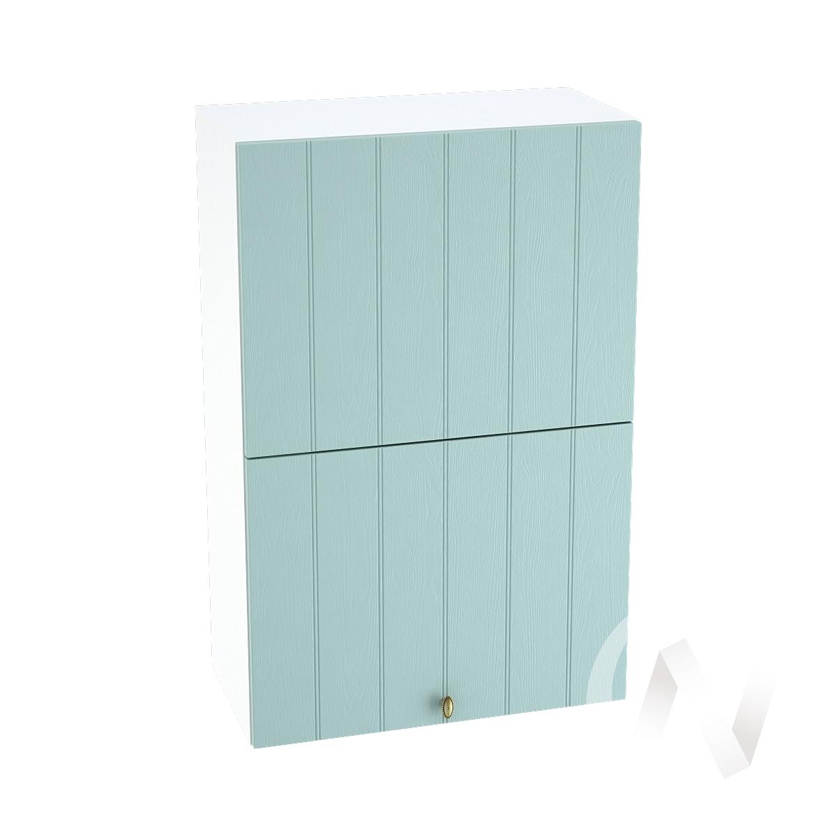 """Кухня """"Прованс"""": Шкаф верхний горизонтальный 602, ШВГ 602 (голубой/корпус белый)"""