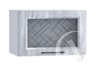 """Кухня """"Либерти"""": Шкаф верхний горизонтальный со стеклом 500, ШВГС 500 (Холст натуральн/корпус белый)"""