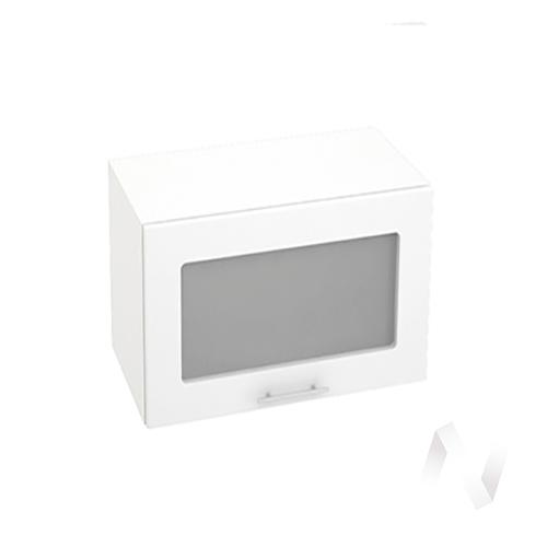 """Кухня """"Валерия-М"""": Шкаф верхний горизонтальный со стеклом 609, ШВГС 609 (белый глянец/корпус белый)"""