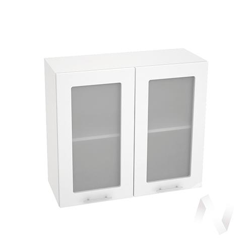 """Кухня """"Валерия-М"""": Шкаф верхний со стеклом 800, ШВС 800 новый (белый металлик/корпус белый)"""