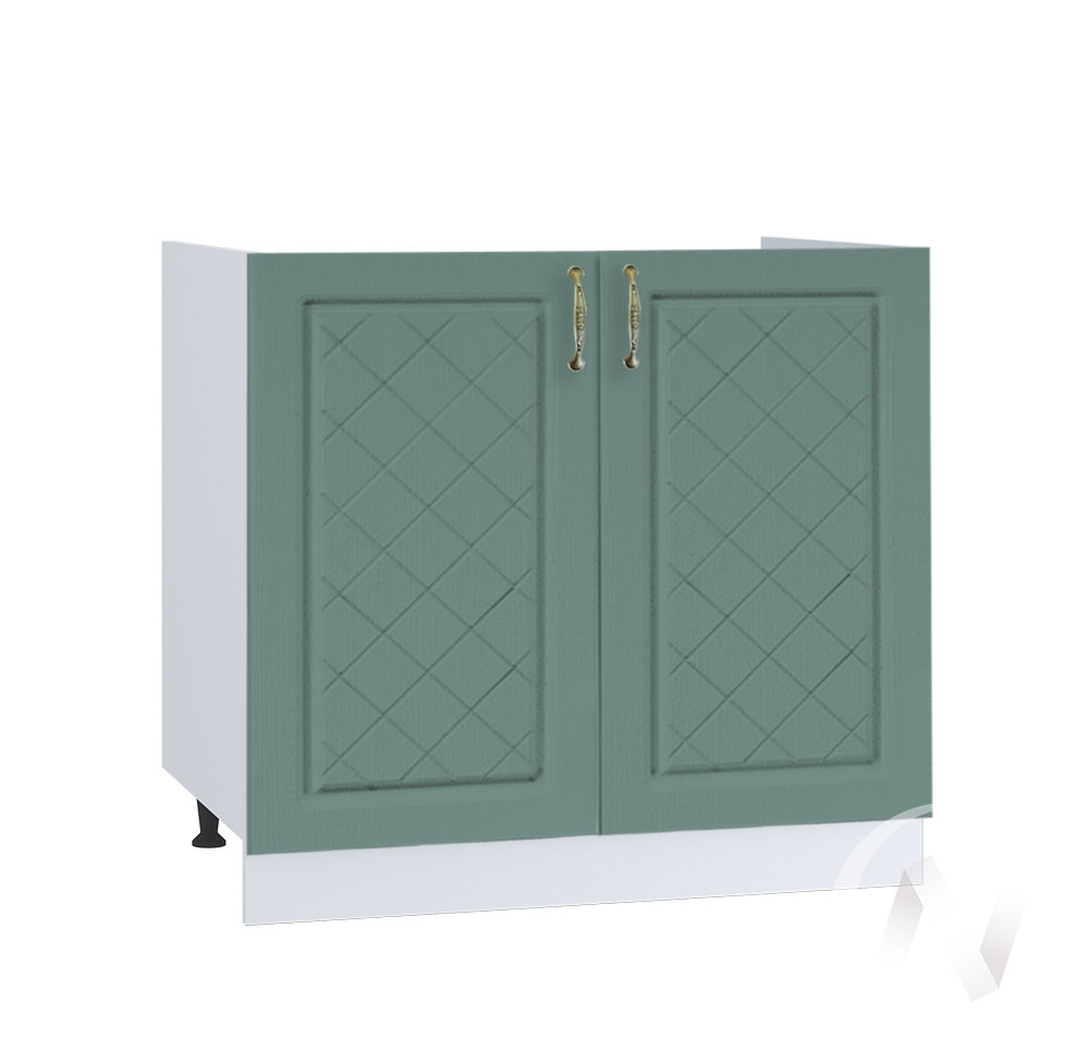 """Кухня """"Селена"""": Шкаф нижний под мойку 800, ШНМ 800 новый (Дуб бирюзовый/корпус белый)"""
