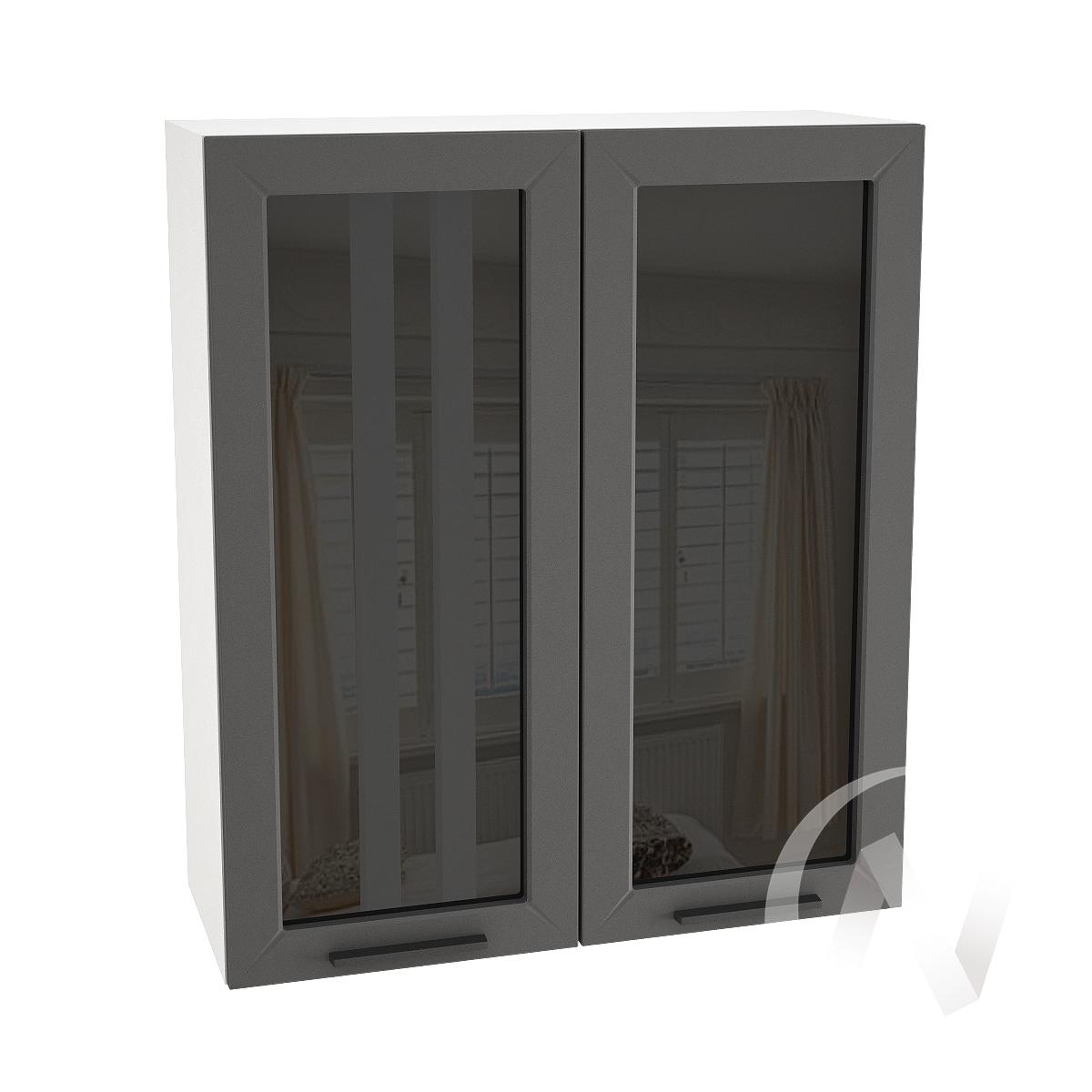 """Кухня """"Глетчер"""": Шкаф верхний со стеклом 809, ШВС 809 новый (Маренго силк/корпус белый)"""