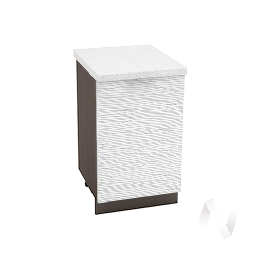 "Кухня ""Валерия-М"": Шкаф нижний 500, ШН 500 (Страйп белый/корпус венге)"