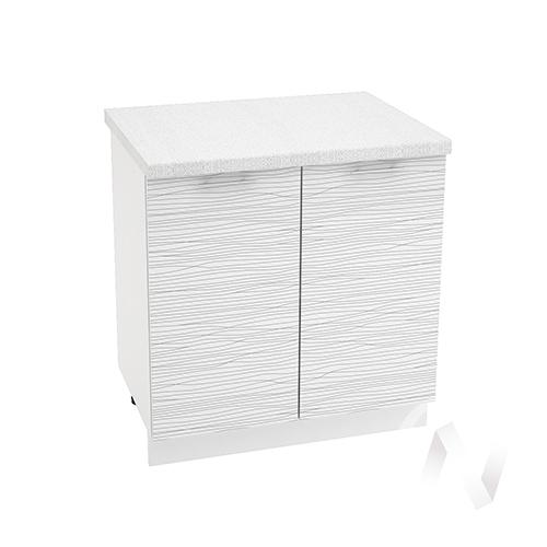 "Кухня ""Валерия-М"": Шкаф нижний 800, ШН 800 (Страйп белый/корпус белый)"