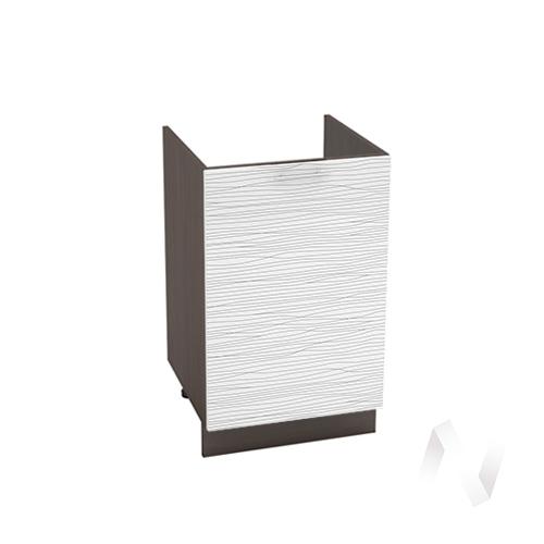 "Кухня ""Валерия-М"": Шкаф нижний под мойку 500, ШНМ 500 (Страйп белый/корпус венге)"
