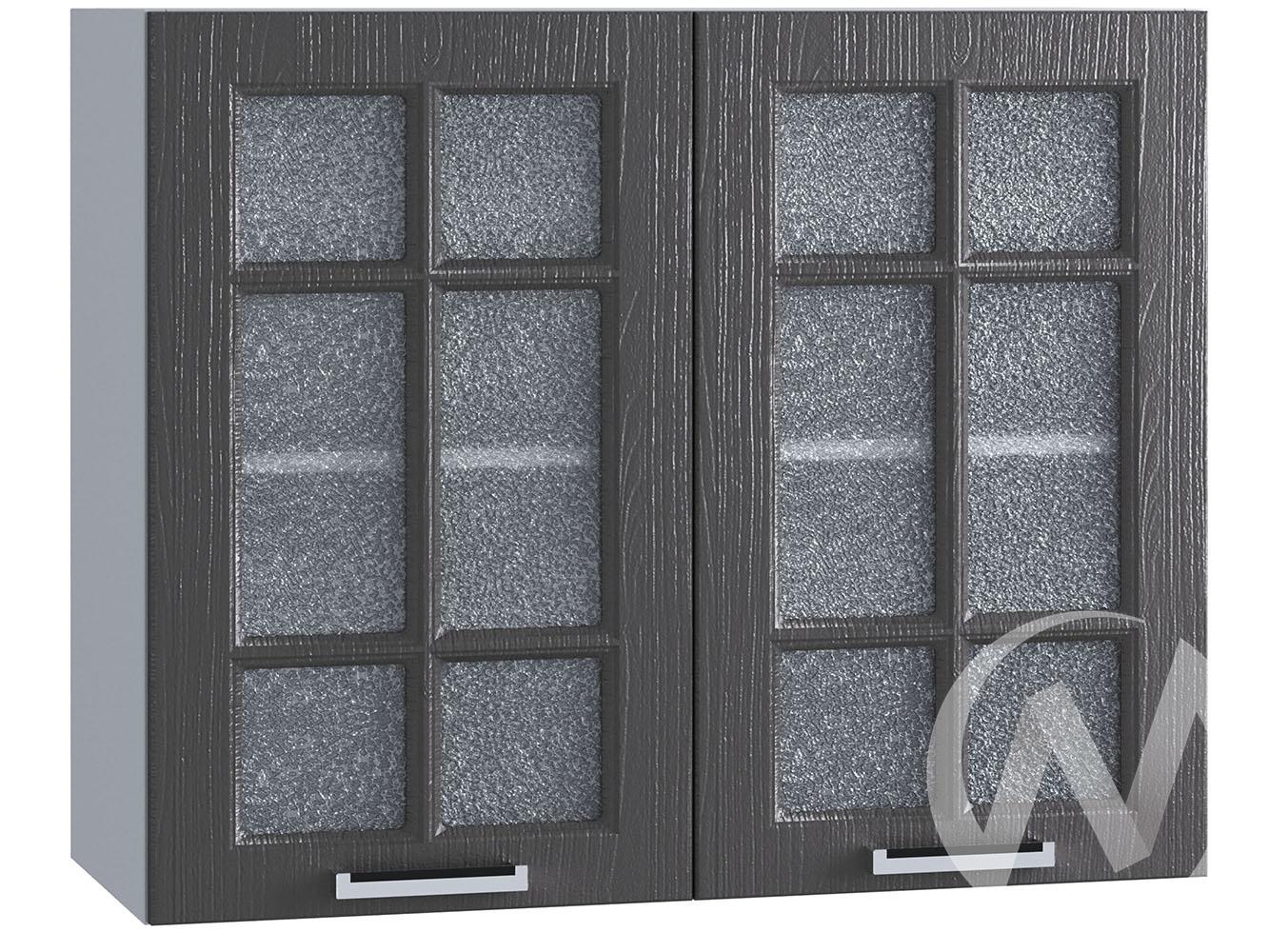 """Кухня """"Луксор"""": Шкаф верхний со стеклом 800, ШВС 800 (Клен серый/корпус белый)"""