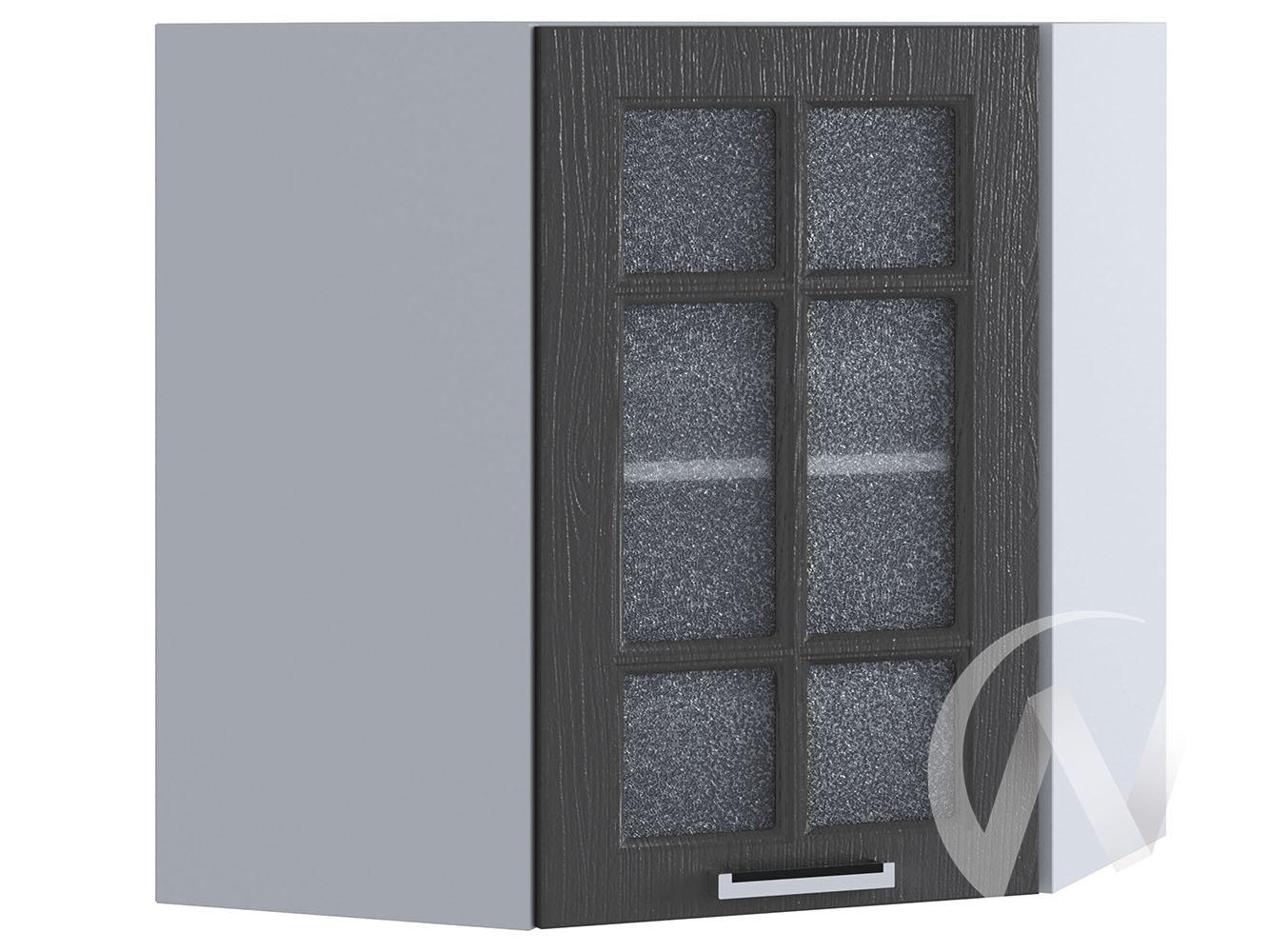 "Кухня ""Луксор"": Шкаф верхний угловой со стеклом 590, ШВУС 590 (Клен серый/корпус белый)"
