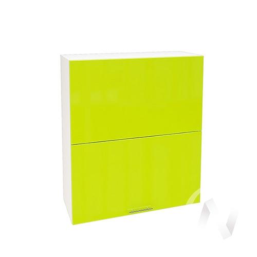 """Кухня """"Валерия-М"""": Шкаф верхний горизонтальный 802, ШВГ 802 (лайм глянец/корпус белый)"""