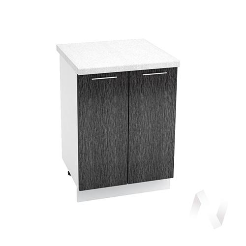 """Кухня """"Валерия-М"""": Шкаф нижний 600, ШН 600 новый (дождь черный/корпус белый)"""