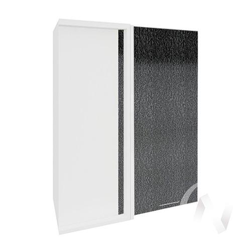 """Кухня """"Валерия-М"""": Шкаф верхний угловой 699, ШВУ 699 (дождь черный/корпус белый)"""