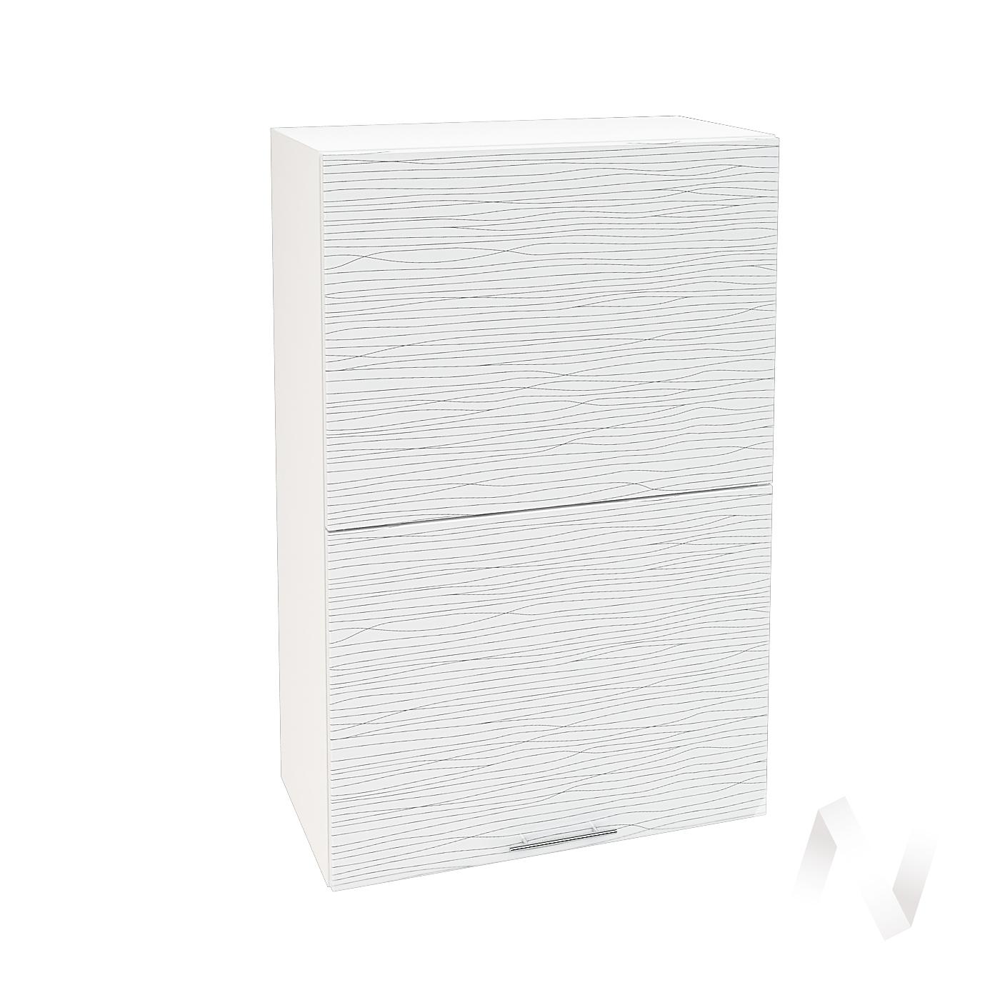 """Кухня """"Валерия-М"""": Шкаф верхний горизонтальный 602, ШВГ 602 (Страйп белый/корпус белый)"""