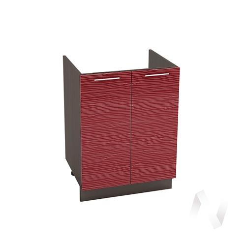 """Кухня """"Валерия-М"""": Шкаф нижний под мойку 600, ШНМ 600 новый (Страйп красный/корпус венге)"""