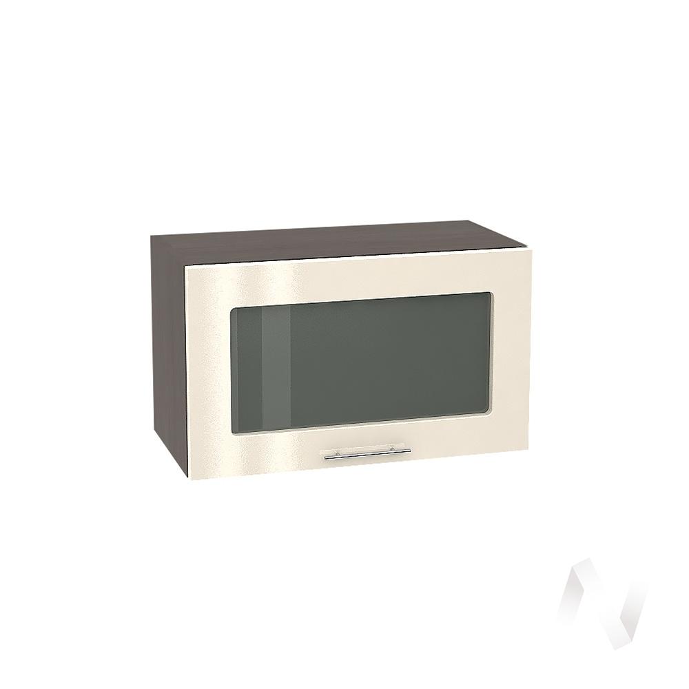 """Кухня """"Валерия-М"""": Шкаф верхний горизонтальный со стеклом 600, ШВГС 600 (Ваниль глянец/корпус венге)"""