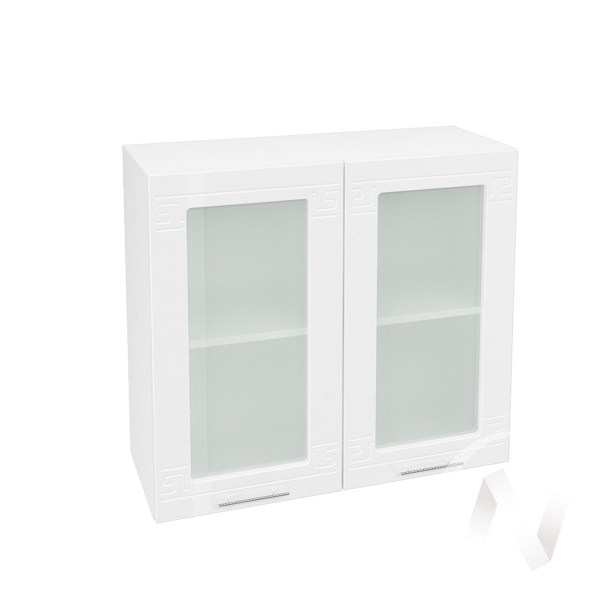 """Кухня """"Греция"""": Шкаф верхний со стеклом 800, ШВС 800 новый (белый металлик/корпус белый)"""